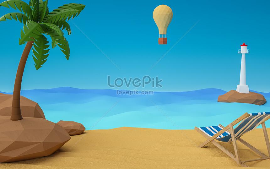 c4d summer beach scene