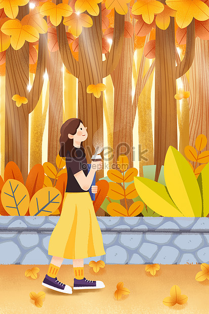 girl walking with coffee in the park mobile phone wallpaper illu