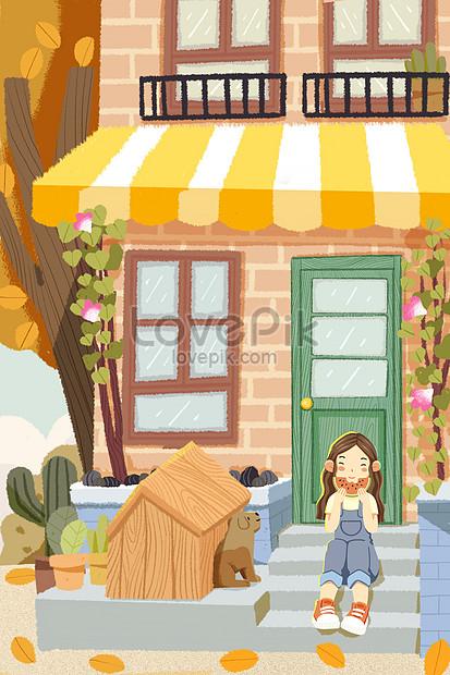 girl mobile phone wallpaper illustration sitting on stairs eatin