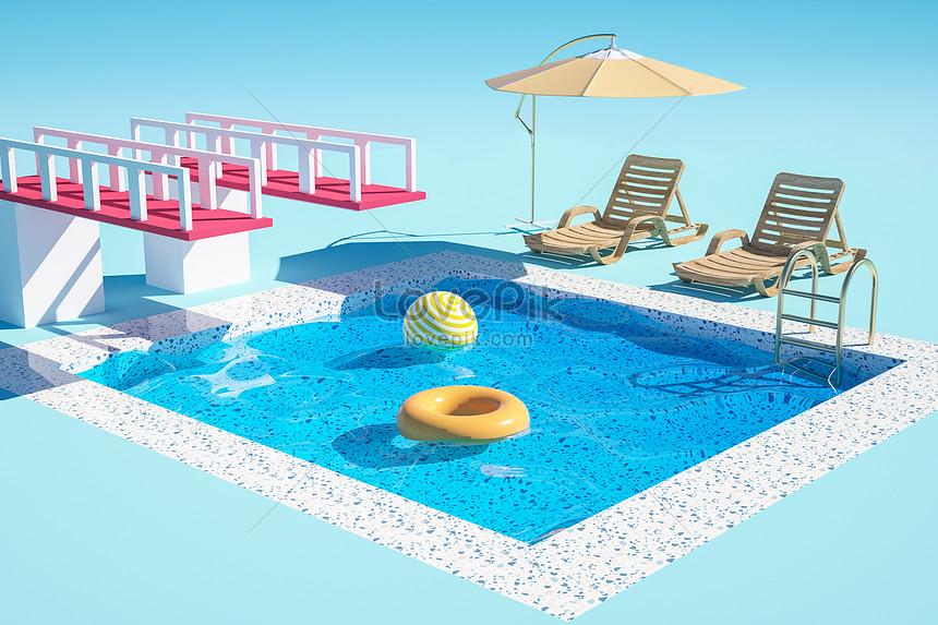 c4dクリエイティブな夏のプールのシーン