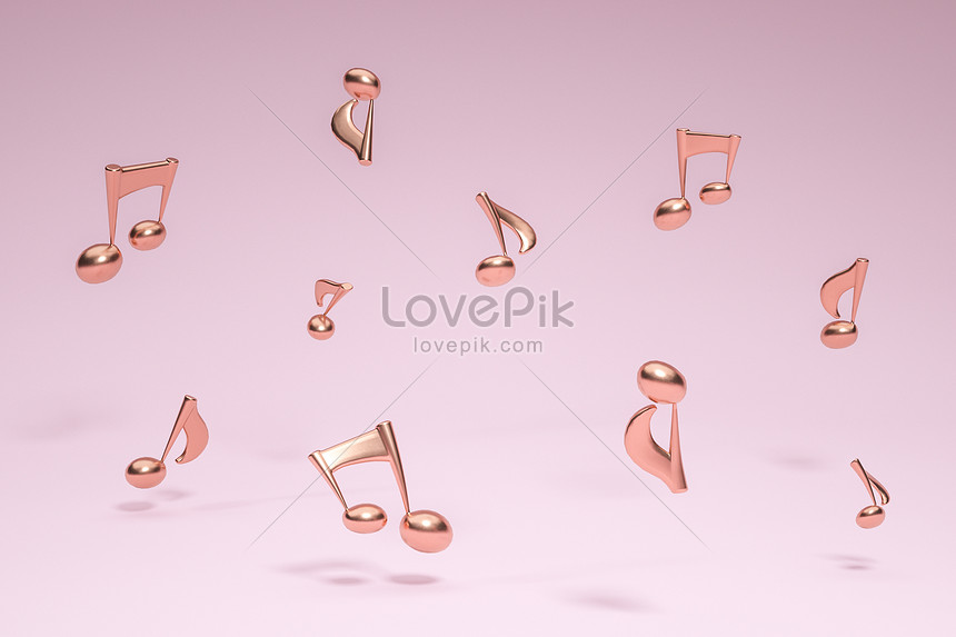 creative musical note floating scene