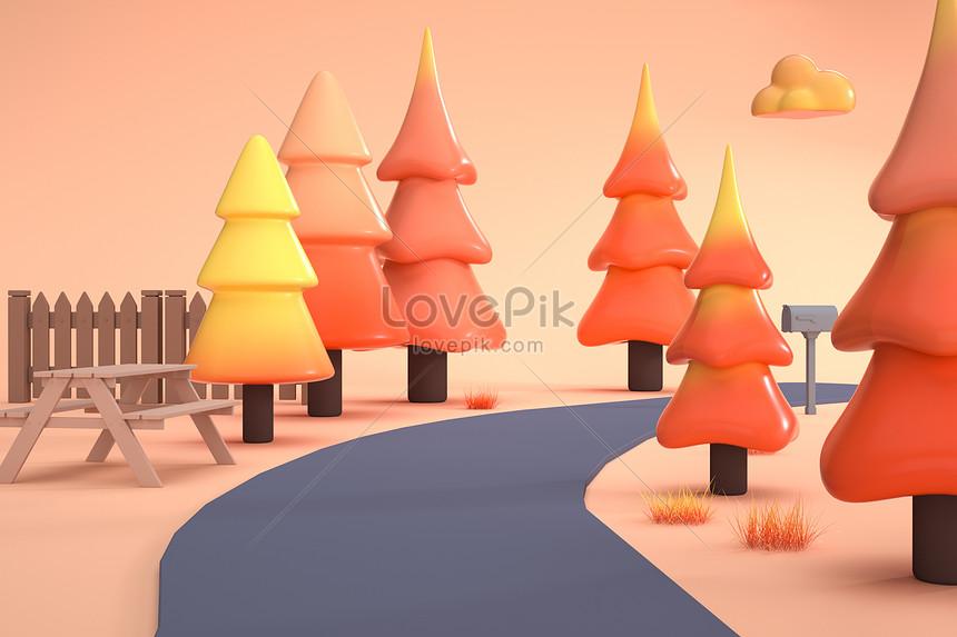 scena tridimensionale autunnale