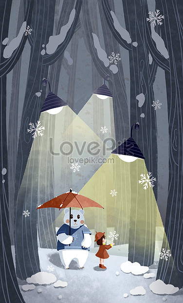 snow scene with big bear and little girl in the forest