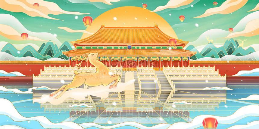 architectural landmark of the forbidden city in beijing