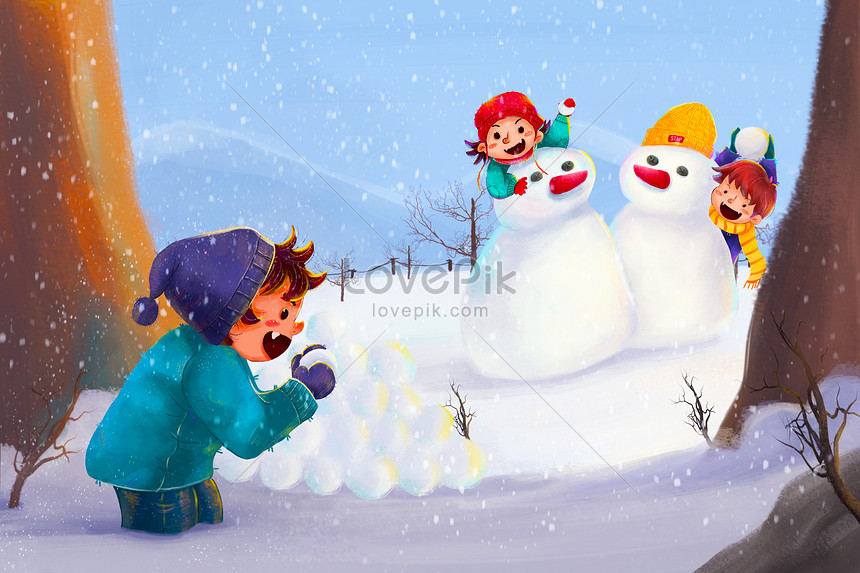 children playing snowball fight