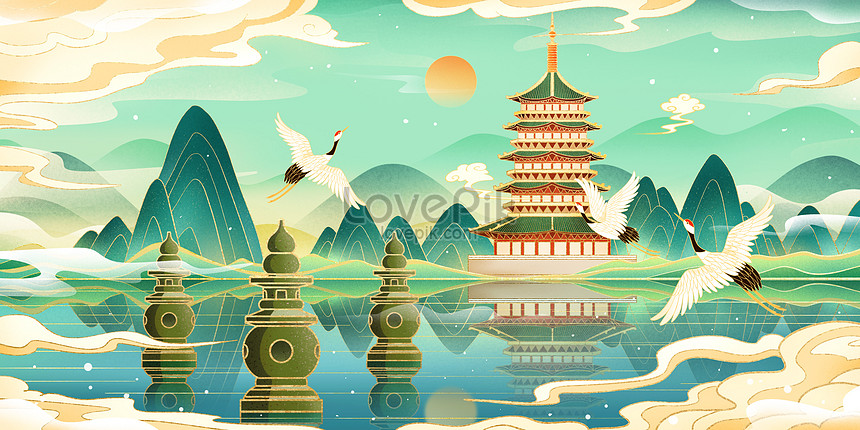 architectural landmark of west lake in hangzhou