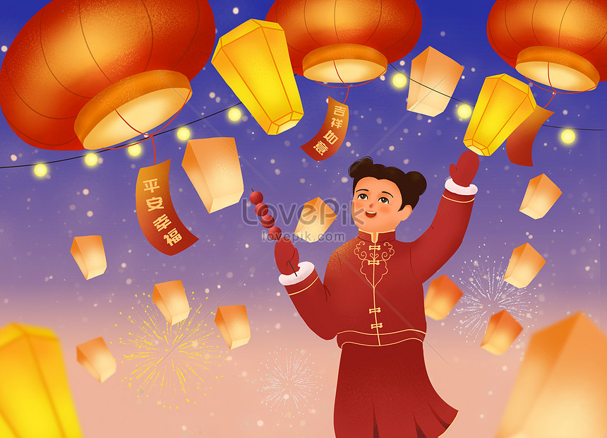 illustration of little girl candied haws admiring lantern on the 15th day of the first lunar month