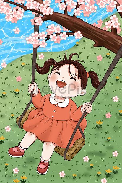 春天盪鞦韆的小女孩