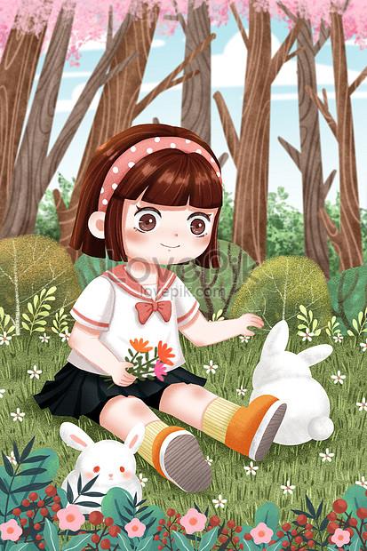 草地上的女孩和小兔子