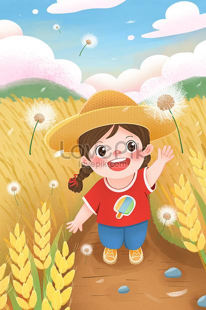 menina de manga de verão com dente de leão no campo de trigo