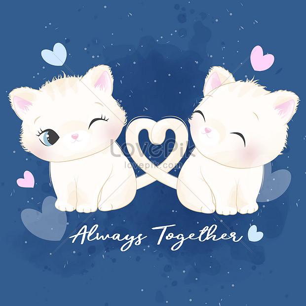 Hand Drawn Cute Cat Couple Pattern Illustration Image Picture Free Download 450002076 Lovepik Com
