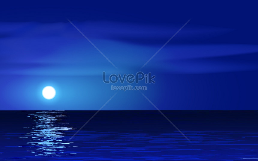 night at sea with full moon