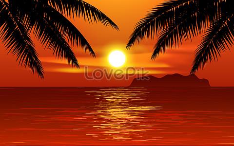 Beautiful tropical beach sunset with palm tree jpg