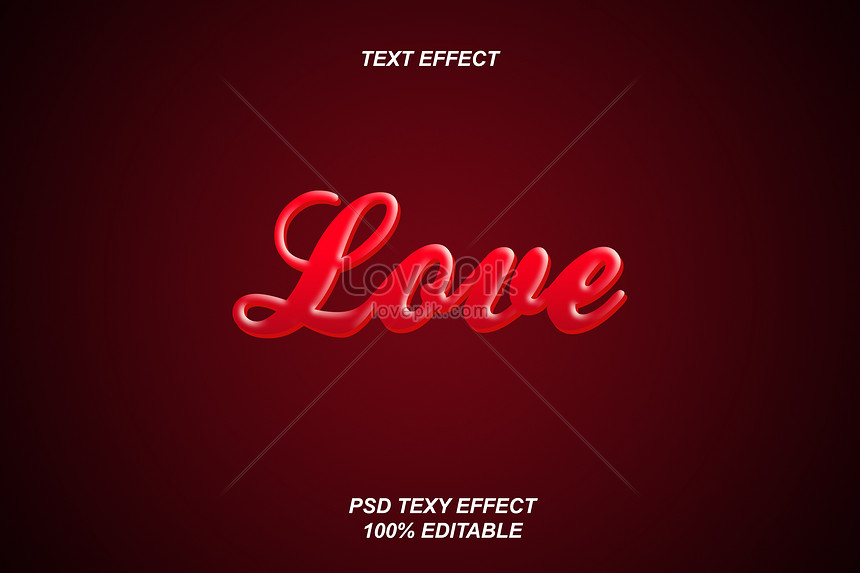 red cool love font effect design