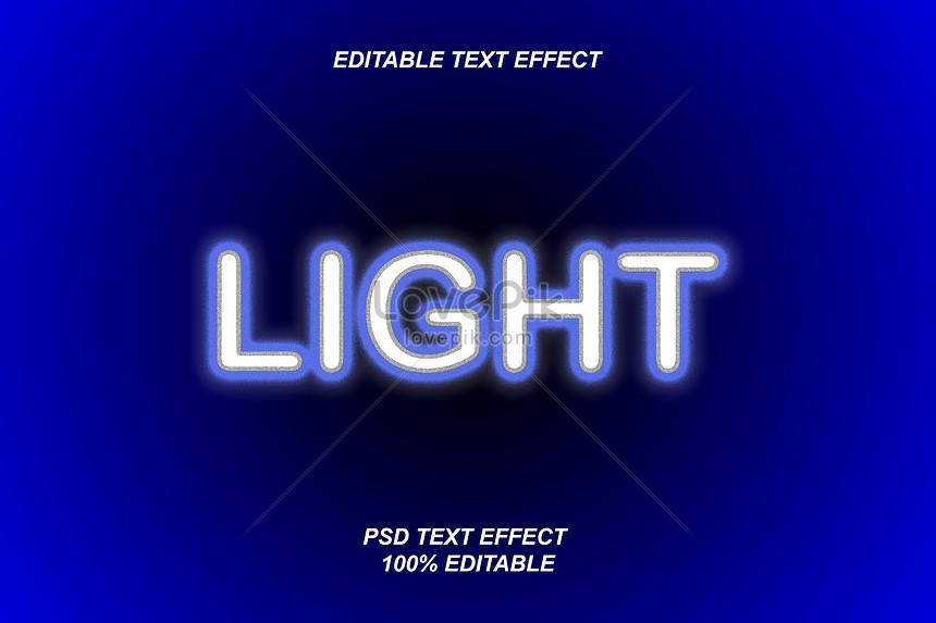 blue fluorescence light font effect design