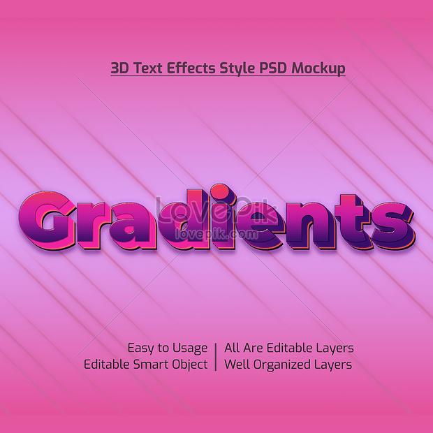 pink 3d gradients font effect design