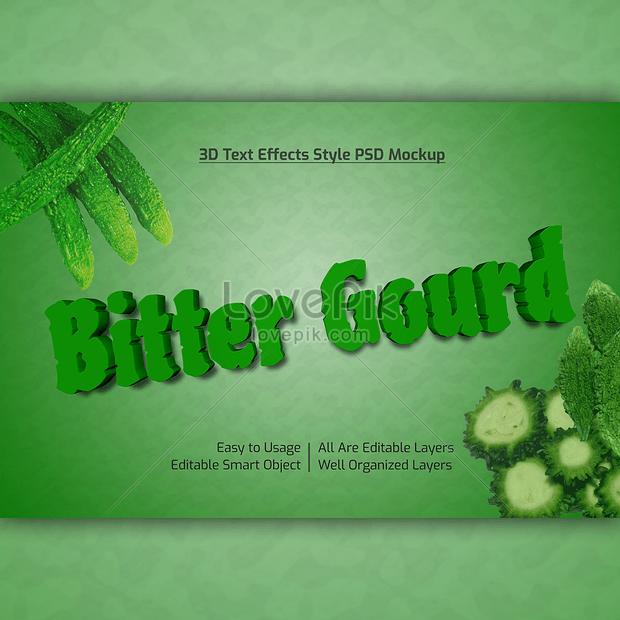 green 3d bitter gourd font effect design