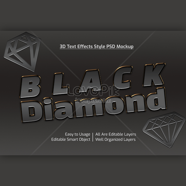 cool 3d black diamond font effect design