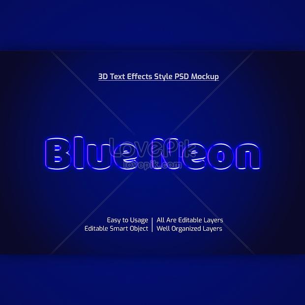 blue 3d neon font effect design