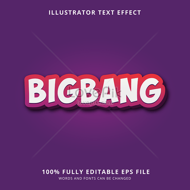 purple and red cartoon bigbang font effect design