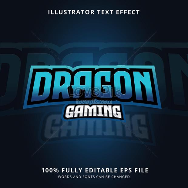 blue cool dragon gaming font effect design