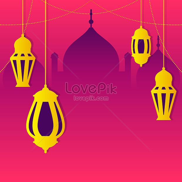 pink romantic arabic islamic eid mubarak background