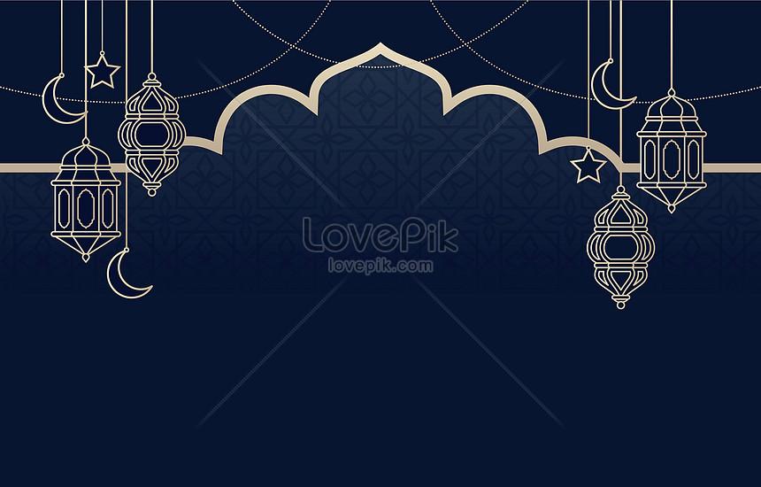 blue islamic lantern para sa eid mubarak background