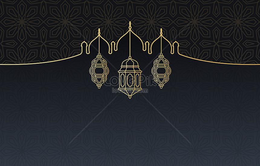 fondo de linterna árabe islámica de ramadán kareem negro