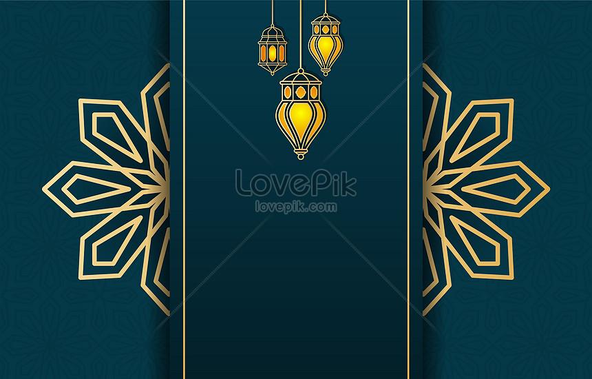 luxury islamic eid mubarak lantern background