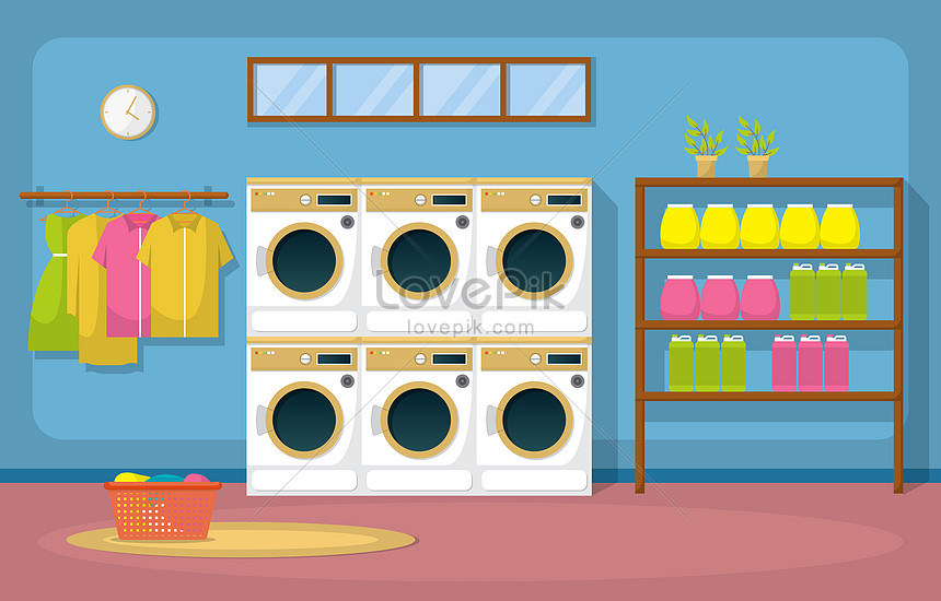 clothes in the laundry room with washing machine