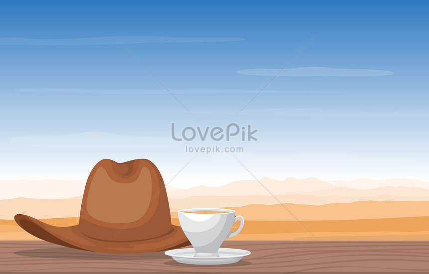tea and hat in desert