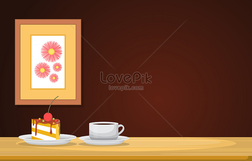coffee and snack on wooden table in a room