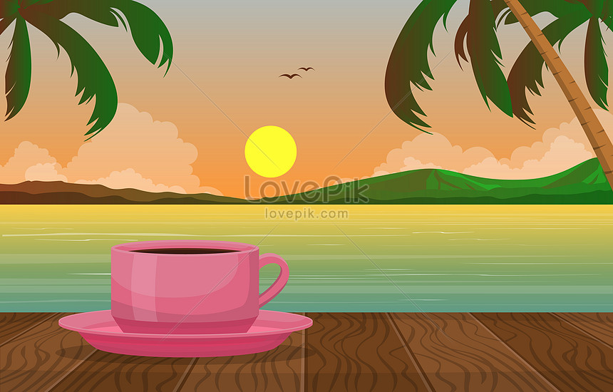 seaside sunset scenery with a cup