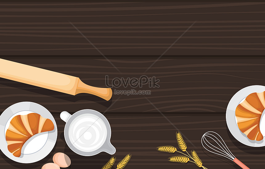 bread and utensil food on wooden table