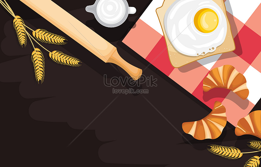 egg bread and utensil food on black background