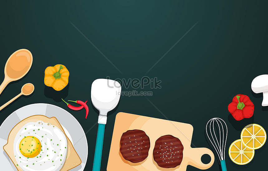 meet and utensil food on green background
