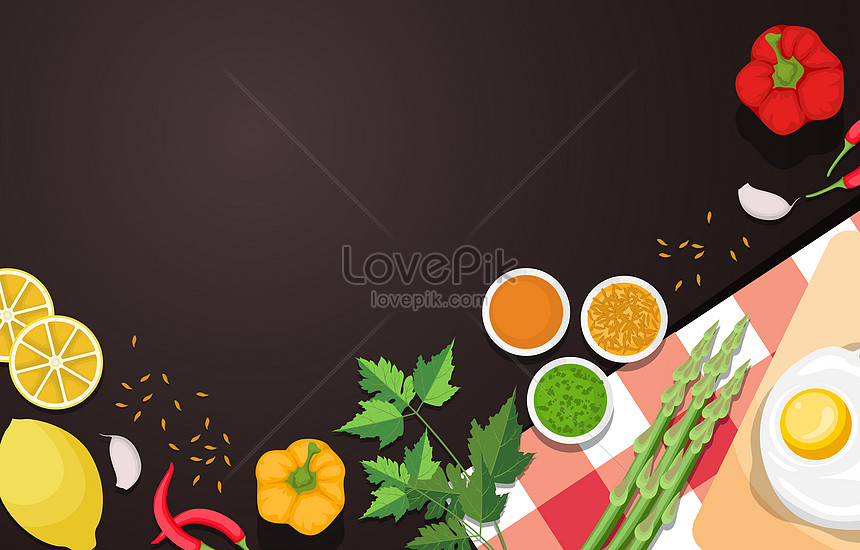 egg lemon and vegetables food on brown background