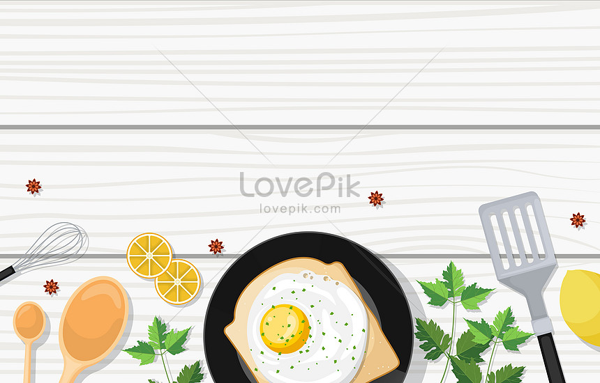 nutritious breakfast and utensil food on white wooden table