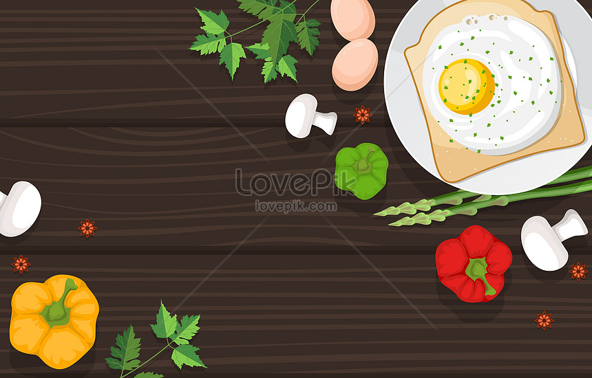 healthy breakfast and vegetables food on wooden table