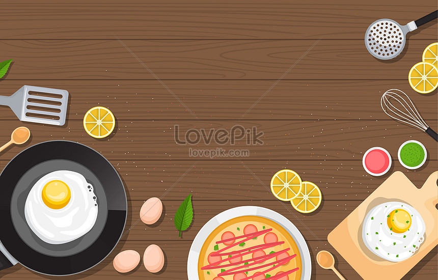 healthy breakfast and pizza food on wooden table