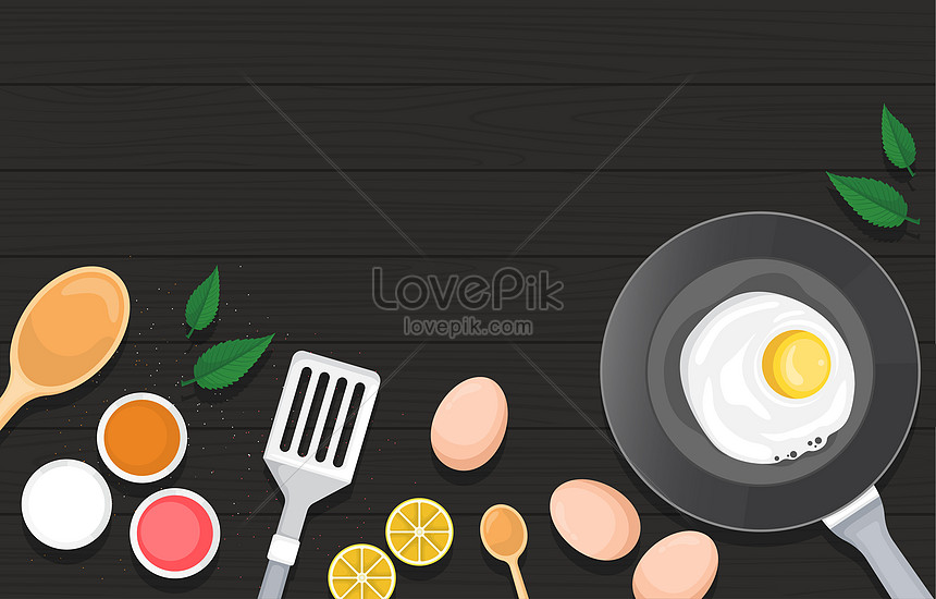 healthy breakfast utensil food on black wooden table