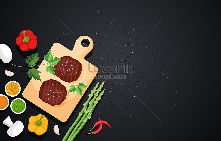 nutritious breakfast food on black background