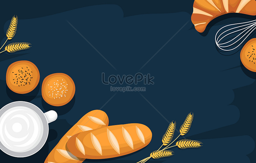 nutritious breakfast and utensil food on blue background