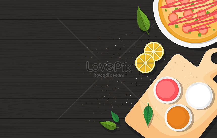 nutritious pizza food on black wooden table