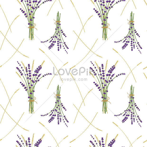 white lavender bouquet and wheat background