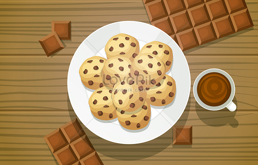 chocolate cookie biscuit food on wooden table