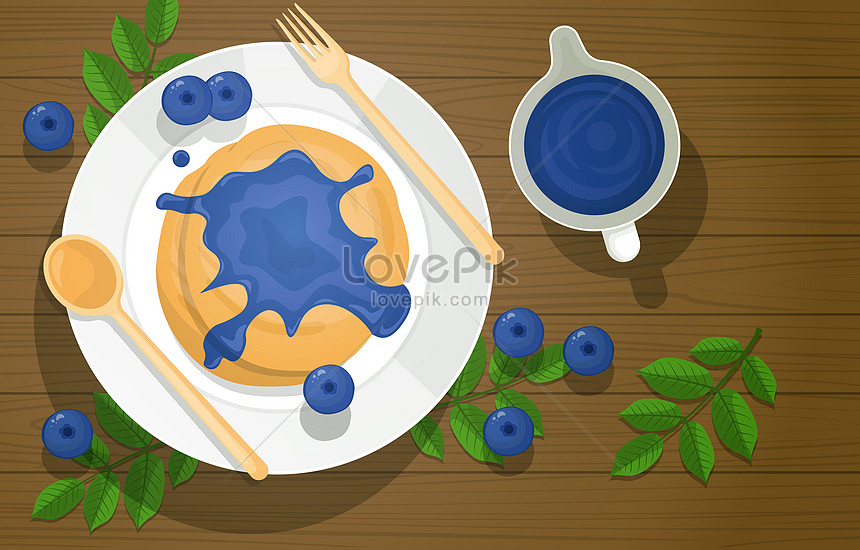 blueberry pancake and jam syrup food on wooden table