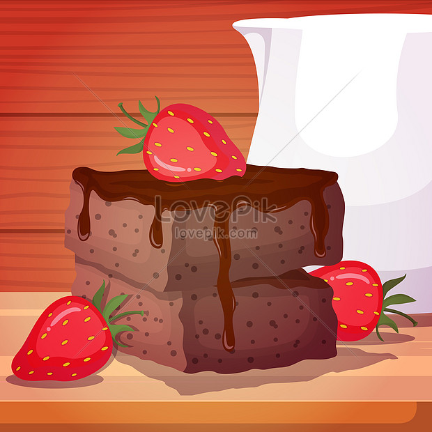 strawberry and chololate cake food on wooden table