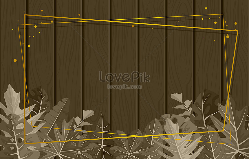 brown leaves border on wooden texture banner background