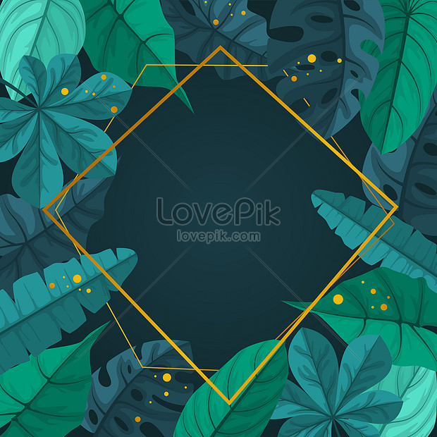 stylish green tropical plant leaves frame banner background